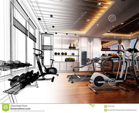 fitness room design abstract sketch design of interior fitness room stock