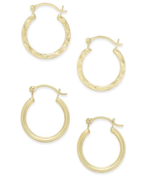 macy s duo set of small hoop earrings in 10k gold in