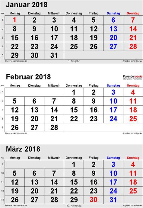 Januar 2018 Kalender Kalender Februar 2018 Als Excel Vorlagen
