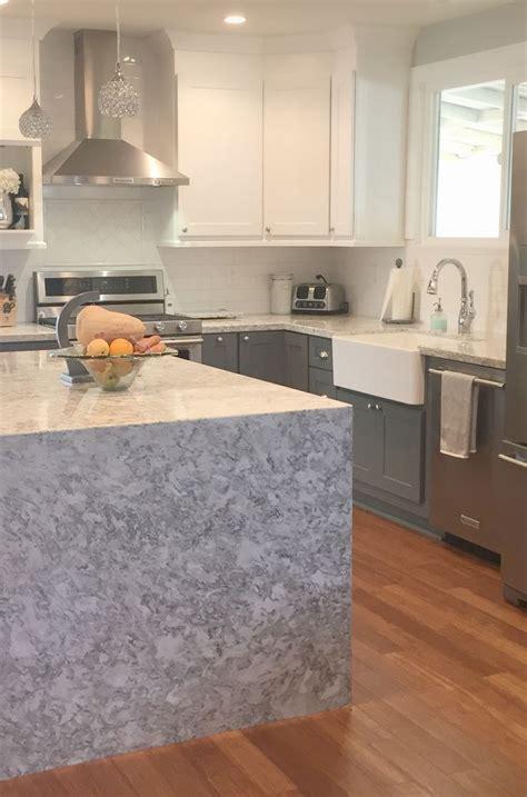 Gray Kitchens Pictures waterfall countertop cambria quartz berwyn gray kitchen