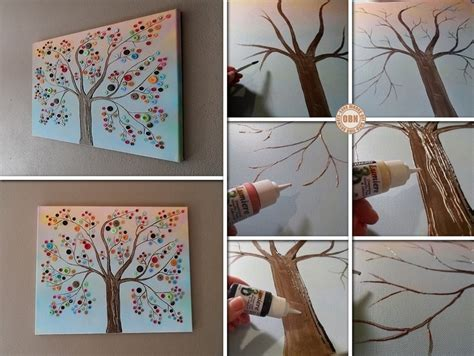 diy crafts for home decor button tree crafts diy button tree canvas wall beesdiy