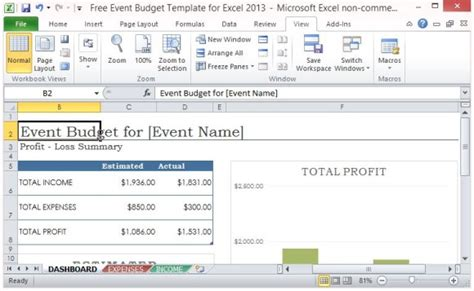 Budget Software Package From Woolworths by Free Event Budget Template For Excel 2013