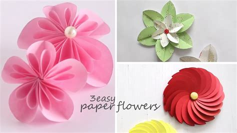 How To Flowers In Paper - 3 easy paper flowers