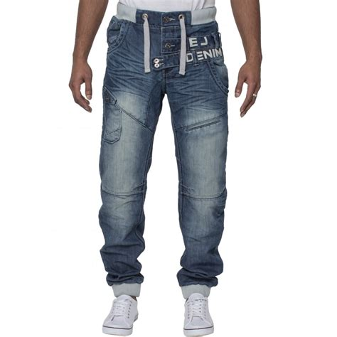 Cuffed Jean eto mens designer cuffed denim distressed blue black