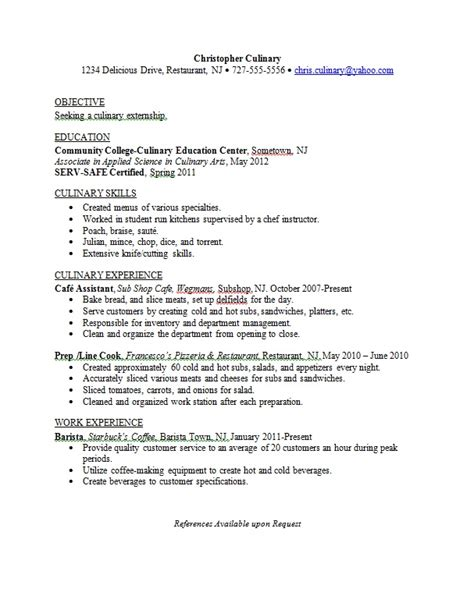 resume format for ojt culinary students resume sles career connoisseur