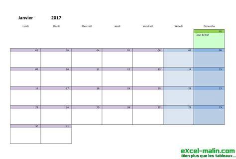 Calendrier 2017 Pour Planning Calendrier Mensuel Excel Modifiable Et Gratuit Excel