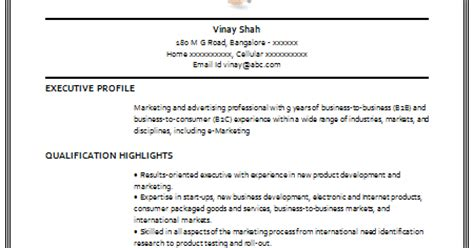Consumer Packaged Goods Resume Sle 10000 Cv And Resume Sles With Free Cv Format For Marketing Manager