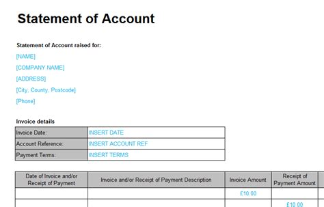 statement account template loans debts bizorb