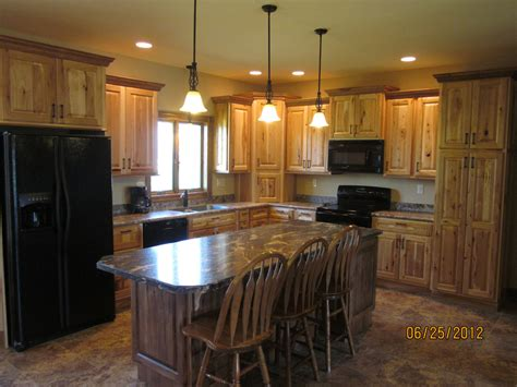 Kitchen Island With Butcher Block Top rustic hickory cabinets kitchen traditional with kitchen