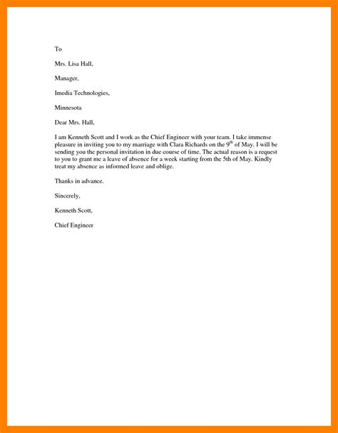 sle of formal leave letter 6 letter for leave request retail resumes