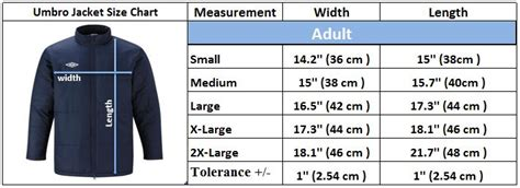 bench clothing size chart umbro padded mens jacket football sports training coach