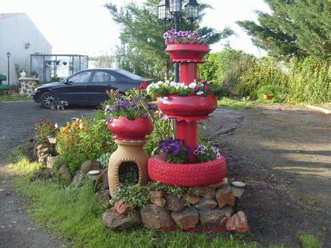 imagenes de jardines con neumaticos jard 237 n reciclaje y m 225 s fuente hecha de neum 225 ticos