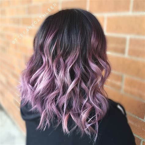 hairstyles with lavender highlights smoky lavender balayage ombr 233 on a wavy long bob my