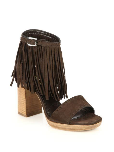 fringe suede sandals prada suede fringe sandals in brown lyst