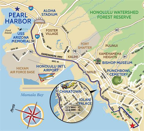 pearl harbor tour map for a hawaii moped or scooter rental