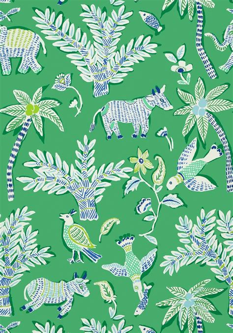wallpaper for walls in goa goa green t88721 collection trade routes from thibaut