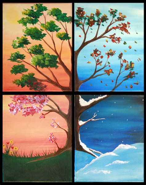Painting 4 Seasons by Four Seasons Tree The Blank Canvas Splattered