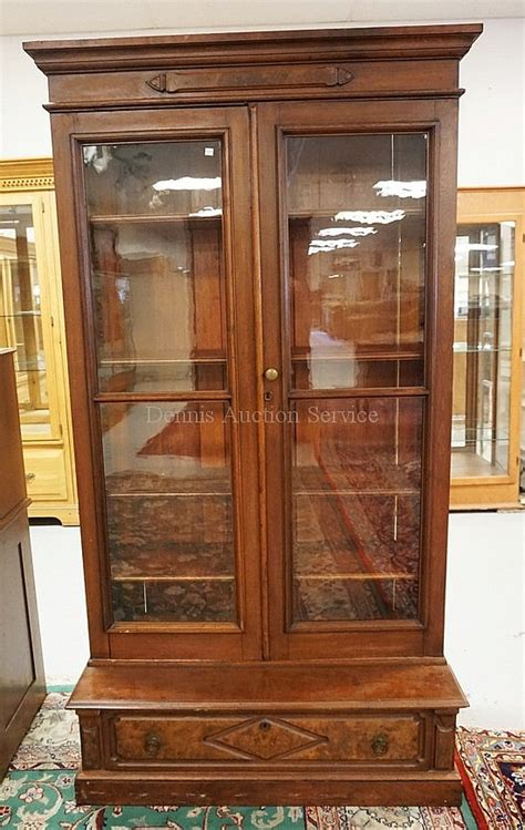Walnut Bookcase With Glass Doors Walnut Bookcase With 2 Glass Doors And A Drawer Be