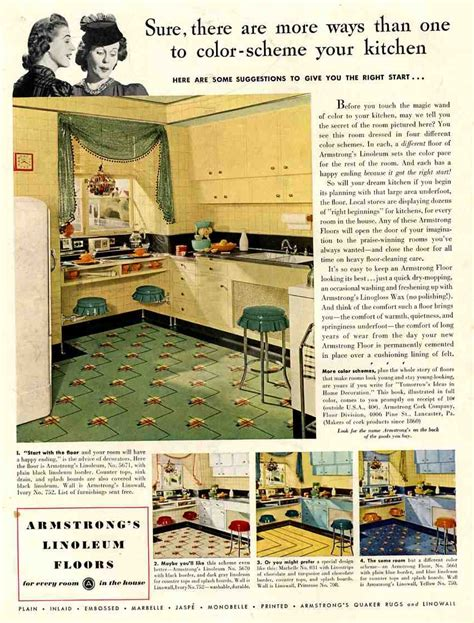 1938 kitchen ad for armstrong linoleum in black 1940 50 wall stuff