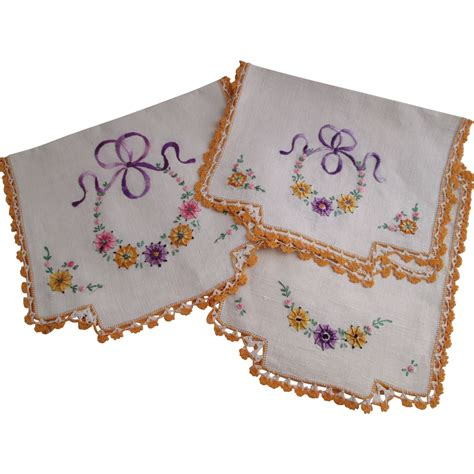 Dresser Scarf by Embroidered Linens Set Vintage 1930s Dresser Scarf Chair