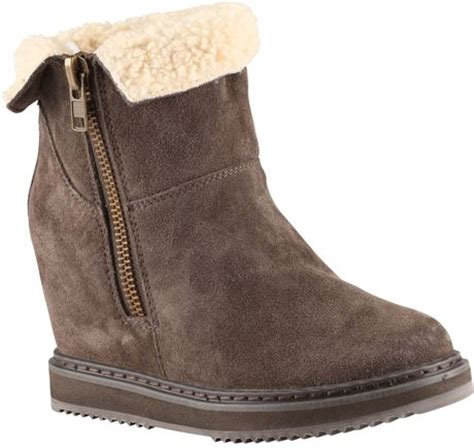 aldo lenice toe wedge boots in brown taupe lyst