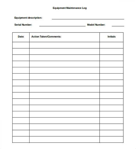 simple equipment maintenance log template for ms excel