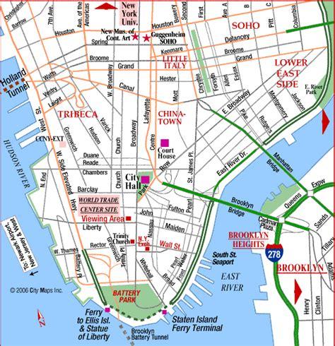 map of new york city manhattan road map of lower manhattan city world trade ctr