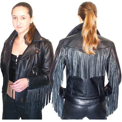 Women's Elite Fringed Black Leather Jacket
