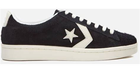 Converse Pro Leather 76 Ox Mid Leather Black Black Egret lyst converse s pro leather 76 ox trainers in black for