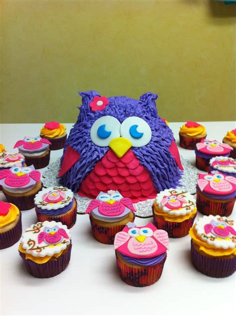 Cupcake Birthday Chubie owl cake with matching cupcakes cakecentral