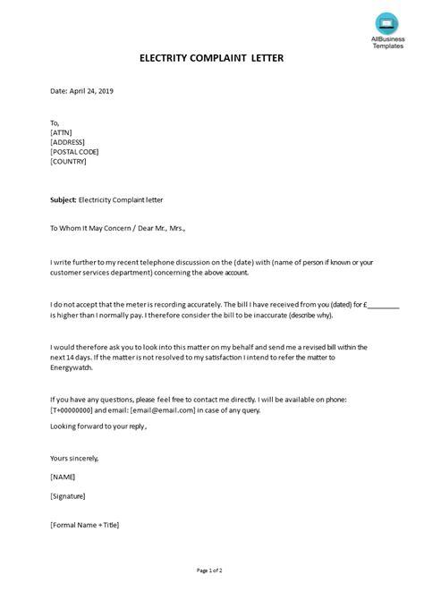 electricity complaint letter format templates