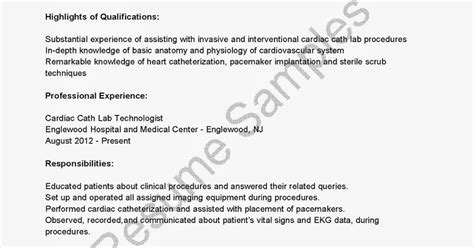 Cardiac Technician Sle Resume by Cath Lab Resume 28 Images Resume Sles Cath Lab Technician Resume Sle My World As A On