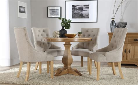 Cavendish Round Oak Dining Table With 4 Duke Oatmeal Circular Oak Dining Table And Chairs