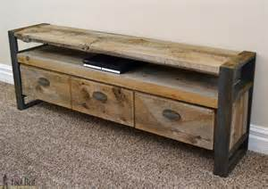 rustic media console table tool belt