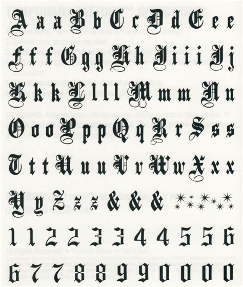 tattoo font prices black script letters numbers temporary tattoo sheet 6 quot x
