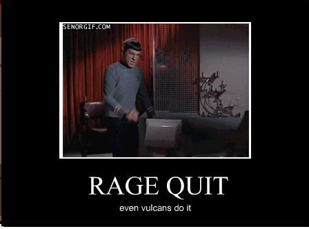 Rage Quit Meme - the rage of spock image dark force science fiction fan