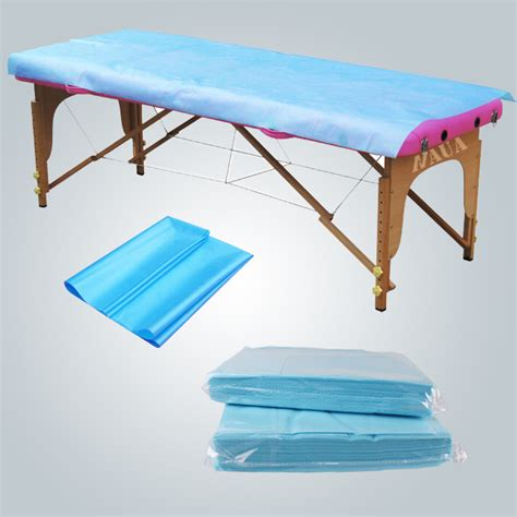 Pp Bedsheet Sprei Chequer Blue antibacterial waterproof bedsheet pp pe laminated disposable cover