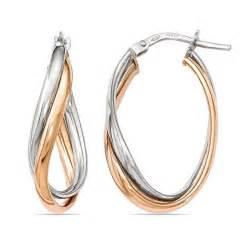 two tone fancy twisted hoop earrings in white gold