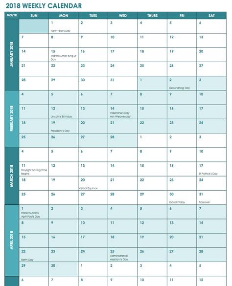 excel 2018 calendar template 2018 weekly calendars templates excels printable