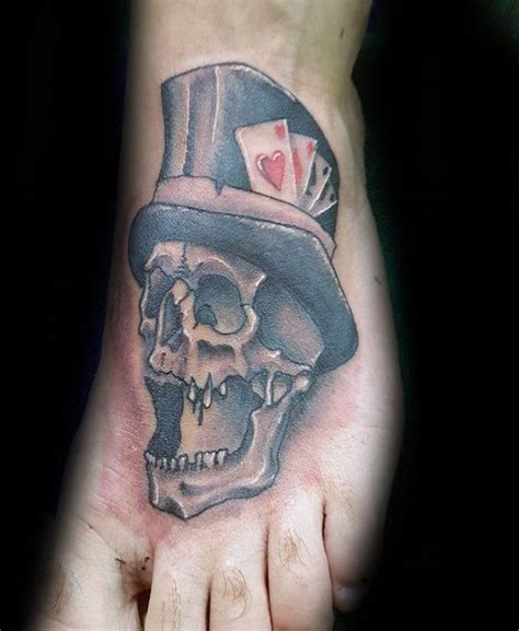 mens ankle tattoo designs 30 skull with top hat designs for manly ink ideas