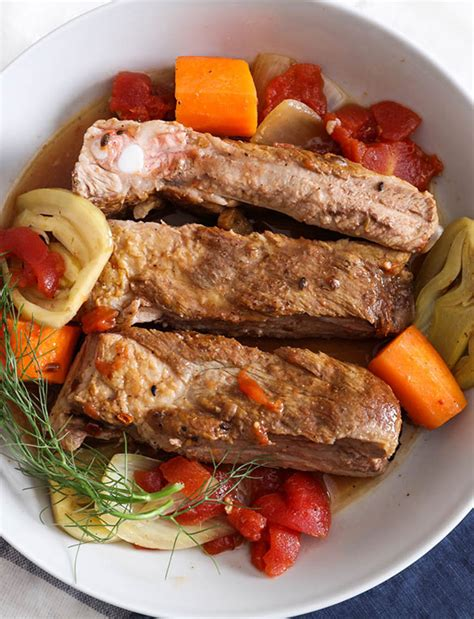braised country style pork ribs cooker braised country pork ribs with tomato and fennel by chef