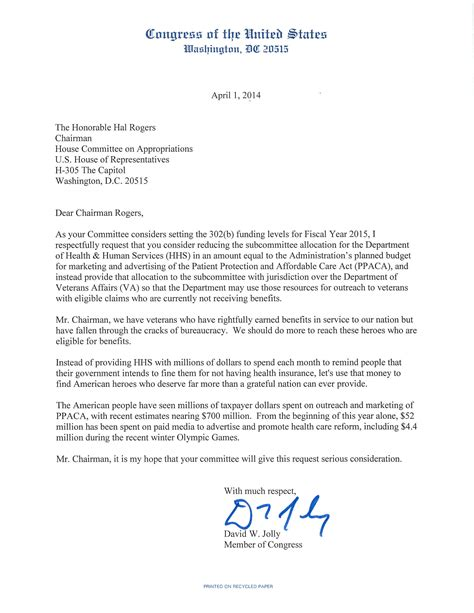 Patient Outreach Letter David Jolly Asks Congress To Move Aca Ad Money To Veterans Affairs Saintpetersblog