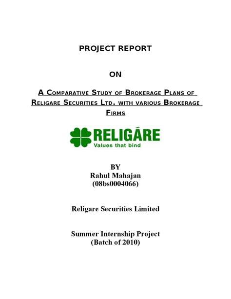 Dematerialisation Of Securities Mba Project by Project Report On A Comparative Study Of Brokerage Plans