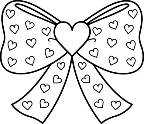 free coloring pages of bow ties bow with hearts coloring page