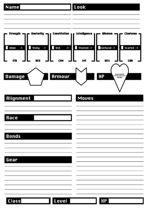 here is a completely blank dungeon world character sheet