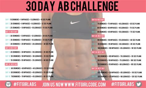 30 days abs challenge calendar daily