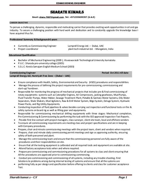 Mechanical Commissioning Engineer Sle Resume by Sharu Resume New
