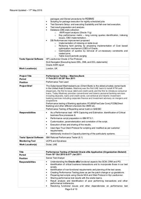performance tester resume resume ideas
