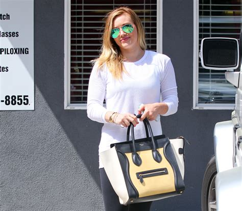 Hilary Bag hilary duff sports a brand new tricolor luggage