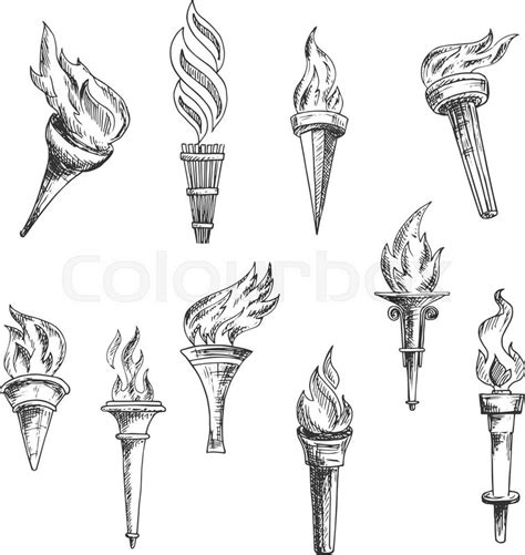 ancient wooden torches vintage engraving sketches with